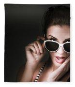 Retro Woman In Early Twenties Expressing Shock Fleece Blanket