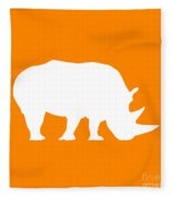 Rhino In Orange And White Fleece Blanket