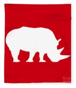 Rhino In Red And White Fleece Blanket