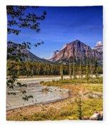 River And Mountains In Jasper Fleece Blanket