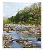 River Flowing Through Rocks, Black Fleece Blanket