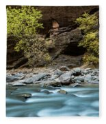 River Flowing Through Rocks, Zion Fleece Blanket