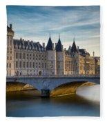 River Seine And Conciergerie Fleece Blanket