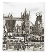 River Thames Sketch Fleece Blanket