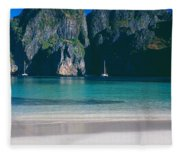 Rock Formations In The Sea, Phi Phi Fleece Blanket