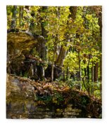 Rock Shelf And Forest Fleece Blanket