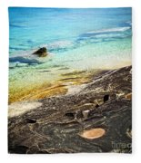 Rocks And Clear Water Abstract Fleece Blanket