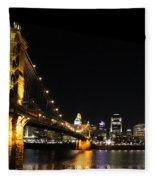 Roebling Suspension Bridge Pano 3 Fleece Blanket