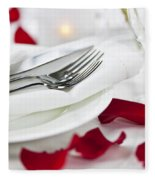 Romantic Dinner Setting With Rose Petals Fleece Blanket