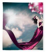 Romantic Girl In Love With Beauty And Fashion Fleece Blanket