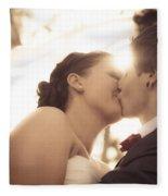 Romantic Wedding Kiss Fleece Blanket