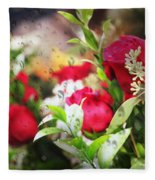Roses In The Rain Fleece Blanket