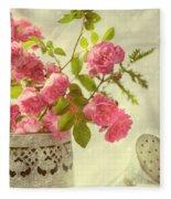 Roses In Watering Can Fleece Blanket