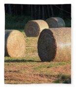 Round Hay Bales Fleece Blanket