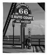 Route 66 - Chain Of Rocks Bridge And Gas Pump Fleece Blanket