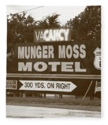 Route 66 - Munger Moss Motel Sign Fleece Blanket