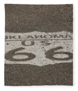 Route 66 - Oklahoma Shield Fleece Blanket