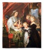 Rubens' Deborah Kip -- Wife Of Sir Balthasar Gerbier -- And Her Children Fleece Blanket