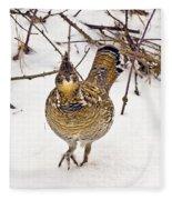 Ruffed Grouse Walking On Snow - Horizontal Fleece Blanket