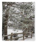 Rural Winter Scene With Fence Fleece Blanket