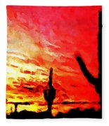 Saguaro Sunset  Fleece Blanket
