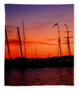 San Diego Harbor Sunset Fleece Blanket