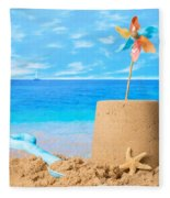 Sandcastle On Beach Fleece Blanket