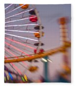 Santa Monica Pier Ferris Wheel And Roller Coaster At Dusk Fleece Blanket