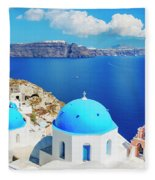 Santorini Island, Greece, Beautiful Fleece Blanket