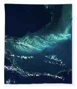 Satellite View Of Turks And Caicos Fleece Blanket