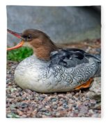 Scaly-sided Merganser Hen Fleece Blanket