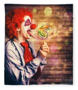 Scary Circus Clown At Horror Birthday Party Fleece Blanket