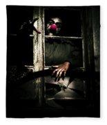 Scary Clown Clawing Window Fleece Blanket