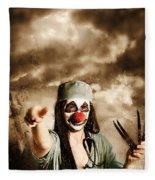 Scary Clown Doctor Throwing Knives Outdoors Fleece Blanket