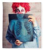 Scary Clown Peeking Behind X-ray. Funny Bones Fleece Blanket