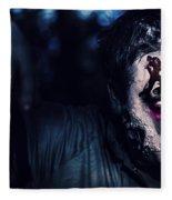 Scary Zombie Looking Gravely Ill. Monster Disease Fleece Blanket