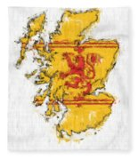 Scotland Painted Flag Map Fleece Blanket