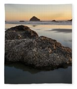 Sea Stacks At Sunset Fleece Blanket