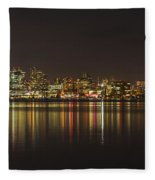 Seattle Skyline On Lake Union Fleece Blanket