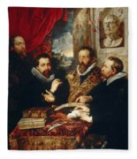 Selfportrait With Brother Philipp Justus Lipsius And Another Scholar Fleece Blanket