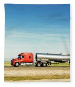Semi Truck Moving On The Highway Fleece Blanket