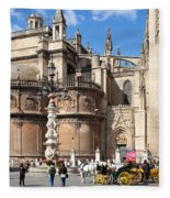 Seville Cathedral In The Old Town Fleece Blanket