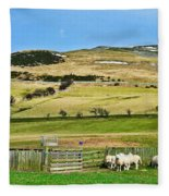 Sheep In Meadow Fleece Blanket