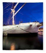 Ship At Night In Stockholm Fleece Blanket