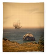 Ship Off The Coast Fleece Blanket