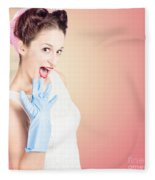 Shocked Pin-up Cleaner Girl With Funny Expression Fleece Blanket
