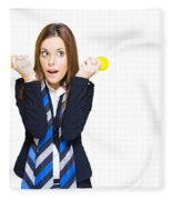 Shocked Woman With Ideas Of Business Innovation Fleece Blanket