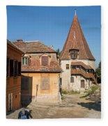 Sighisoara Transylvania Medieval Historic Town In Romania Europe Fleece Blanket