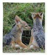 Silver-backed Jackal Pups Fleece Blanket