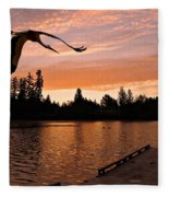 Silver Lake Sunset Fleece Blanket